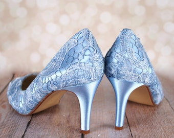 Wedding Shoes , Blue Wedding Shoes, Lace Bridal Heels, Custom Wedding Shoes, Blue Lace Shoes, Wedding Shoe Ideas, Custom Wedding