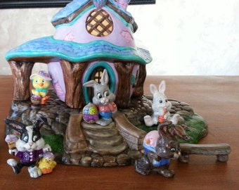 """Fun, 10"""", Easter Bunny, Scene,Easter Decoration, Rabbit family, Rabbit house,Bunny House, Ready to paint,  Ceramic Bisque, u-paint"""