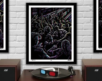 """MOSHI MOSHI - 3D Moshpit Concert Poster with red/blue Glasses - 16x20"""" - Signed Limited Edition Art Print"""