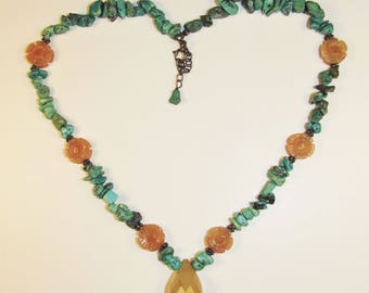 Beautiful Artisan-Made Carved Carnelian and Turquoise necklace in Sterling Silver 925
