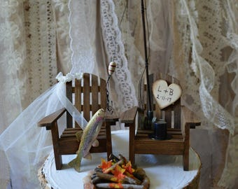 Fishing wedding cake topper rainbow trout bride groom camping campfire outdoors lake house wood chairs rustic country wedding personalized