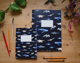 Shark notebook, shark journal, fish notebook