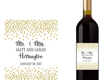 Wedding Wine Bottle Labels with Confetti