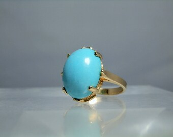 Vintage LeVian 14k Yellow Gold Persian Turquoise Ring Size 6.25 Large Cabochon Excellent Condition