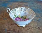 RESERVED - Vintage Paragon Teacup with Roses and Gold - Orphan Cup from the 60s