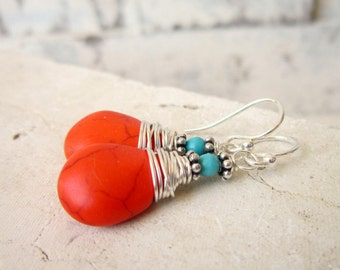 Wire Wrapped Orange and Turquoise Earrings. Orange Turquoise Howlite Dangle Earrings. Tangarine Orange Earrings. Orange Jewelry