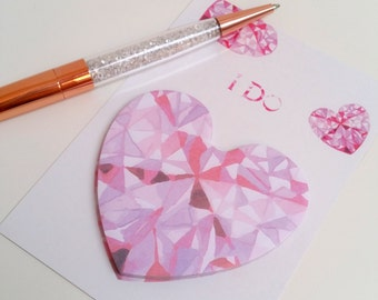 Pink Watercolour Gemstone Sticky Notes