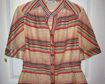 Vintage 1960s Ladies Red & Blue Striped Blouse by Leslie Fay Large NOS Only 5 USD