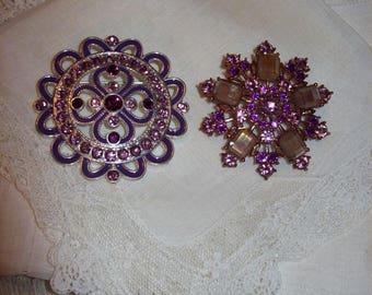 Vintage Amethyst Rhinestone Silver & Copper Victorian Revival Brooch Pins Both for 7 USD