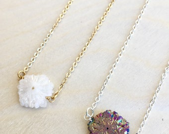 Mini druzy necklace- white/rainbow druzy; gold/silver chain