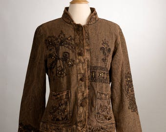 Brown Embroidered Bohemian Jacket. Size Medium. Flashback Brand. 1990's Fashion.