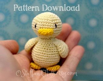 PATTERN- Tiny Duck PDF Crochet Pattern, amigurumi duck, crochet duck, Easy crochet thread animal,