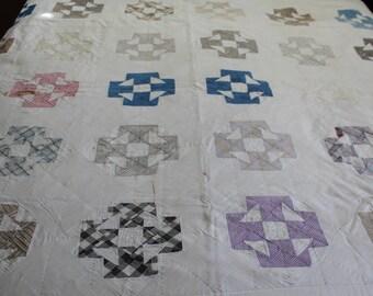 Vintage handmade cross block quilt