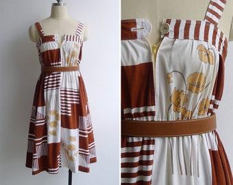 Vintage 70's Poppy Floral Op Art Cotton Pinafore Dress XXS or XS