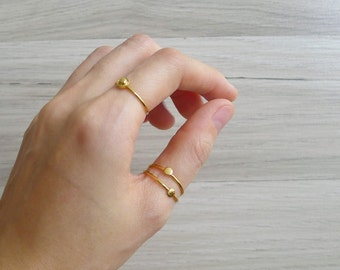 15% SALE (Code In Shop) - Vintage 80's Gold Minimalist Slim Band Stacking Rings