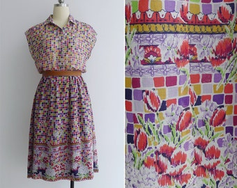 Vintage 80's 'Hip To Be Square' Pixel Print Floral Cotton Voile Dress M or L