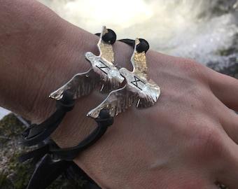 Viking Bracelets - Viking Jewelry - Odins Ravens - Huginn and Muninn - Raven Jewelry - Runes - Norse - Pagan Wedding