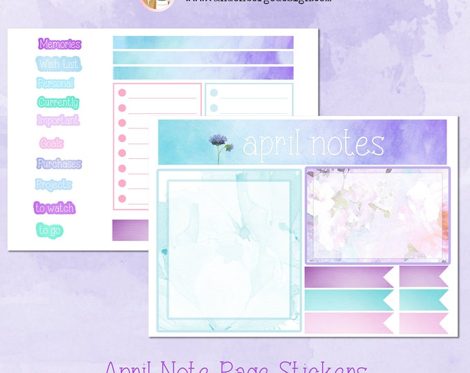SALE! Notes Page Stickers- April -Perfect For Planner Note Pages!