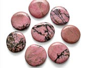 "1 Pink RHODONITE Palm Stone 1.8"" Pink Healing Crystal and Stone for Jewelry Crafts Compassion Forgiveness #RP33"