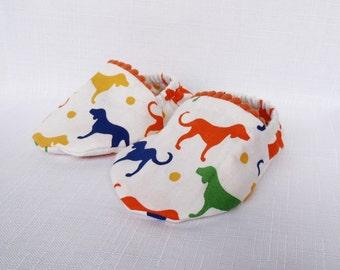 Cotton Handmande Soft Shoes 0-6 Months - Dog Theme with Orange Trim