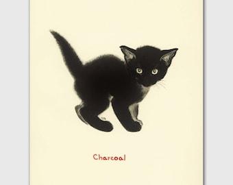"Cat Art Print, Black Cat Art (Vintage Cat Illustration, Chat Noir Gift) Clare Turlay Newberry --- ""Charcoal"""