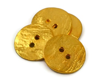 4 Gold Button - 20mm 24 Karat Gold - Round Cornflake Button - Textured Front