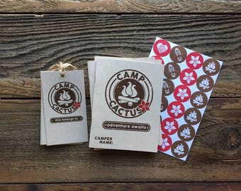 Camper Pack - Camp Cactus Flower - Camp Theme - Girls Campout - Outdoors Party - Journal, Stickers, Bag Tag - Guest Party favors