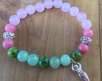 Fertilty Bracelet Made From Rose Quartz, Jade and Australian Chrysophase, with Sterling Silver Goddess Charm