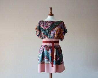 Japanese tunic, tunic dress, Pink tunic, Bridesmaid dress, Spring dress, Women's clothing, Oversized dress, Plus size dress, Short dress