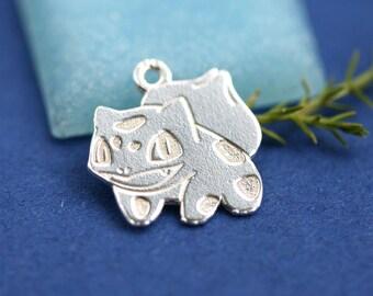 Silver Bulbasaur Pokemon charm, Sterling silver 925, Pokemon game, Bulbasaur pendant, 13mm - 1pc - F501