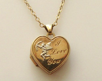 9ct Heart Cupid Picture Locket & Chain