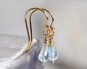 Blue Topaz Earrings - Handmade Earrings - November Birthstone - Blue Topaz Jewelry - Blue Gold Teardrop Earrings