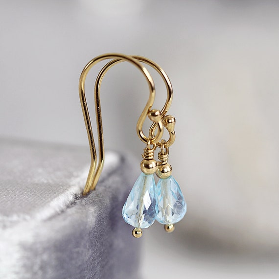 Blue Topaz Earrings - Handmade Earrings - November Birthstone - Blue Topaz Jewelry - Blue Gold Teardrop Earrings