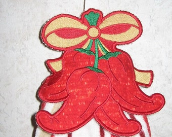 Chili Pepper Embroidered Towel Topper