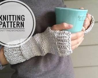 KNITTING PATTERN ⨯ Easy Fingerless Gloves Knit Pattern ⨯ Beginner Knitting Pattern, Fingerless Gloves ⨯ Knit Wrist Warmers Pattern PDF