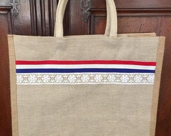 french flag tote market bag