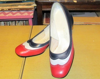 Fabulous 3 COLOR Block Red, White and Navy Blue SPECTATOR Shoes HEELS