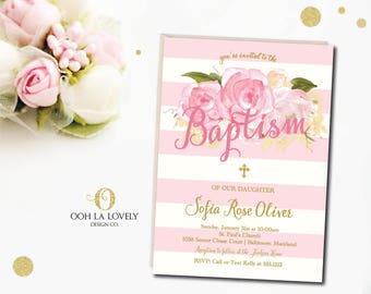 Floral Baptism Invitation, Baby Baptism Invitation, printable - DIY, Stripes, Roses