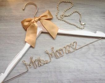 Wedding Hanger - Bridal Hanger - Dress Hanger Wire - Personalized Custom Wedding Hanger - Personalized Hanger - Valentines Gift - Valentines