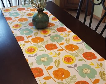 Orange Floral Table Runner, Yellow Floral Table Runner, Turquoise Floral Table Runner