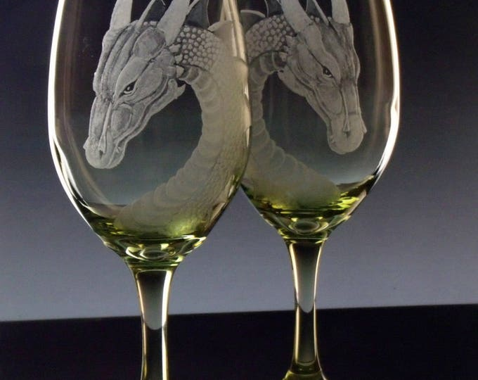 Wine glass set , fantasy dragon wine glasses , gifts for wine lovers , lime green turquoise or purple wineglasses wineglass