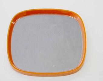 Vintage Bright Orange Retro Mirror- Home Decor -Seventies 70's- framed