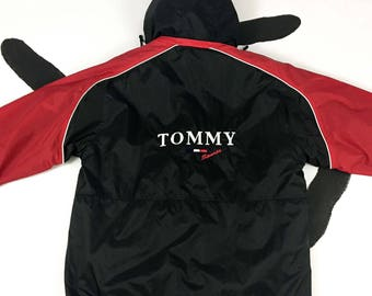 90s Tommy Jeans  / Tommy Sports / Zip Front Black and Red Jacket / Logo / Sportswear  / Hip Hop / y2k / Size Large / Fleece / Hilfiger /