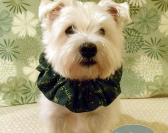 Top O the Morning St Patricks Day Dog Scrunchie Neck Ruffle, 14 inch neck