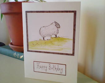 Watercolour sheep birthday card, painted sheep stationery, painted animal blank card, card for dad, for him, drawn sheep, greetings