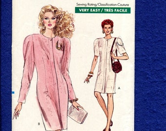 Vintage 1980's Vogue 7269 Retro Straight Dress with Strong Shoulders Size 6..8..10 UNCUT