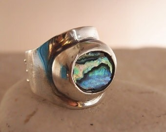 Chunky Sterling Silver Ring, Abalone Jewelry, Modern, Wide, Thick Band , Handmade to All Sizes