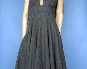 80s vintage dress, grey wool dress, sleeveless vintage dress