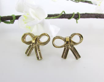 Petite Gold Bow Stud Earrings - Vintage Post Earrings