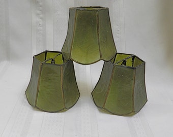Vintage Capiz Shell Shades - Lot of 3 - Rare Color, Clip On Lampshade Chandelier Shade Scalloped Edge Brass Trim  NICE!